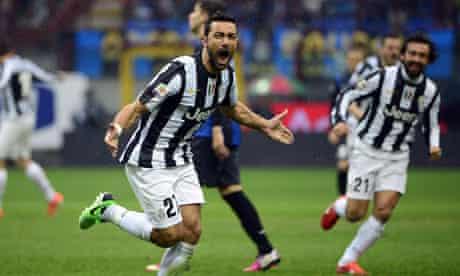 Fabio Quagliarella celebrates giving Juventus the lead in their 2-1 win against Internazionale