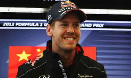 Sebastian Vettel is interviewed by the media ahead of the Chinese GP