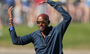 Mo Farah warms up before the race.