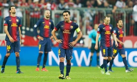 Barcelona look dejected after defeat to Bayern Munich