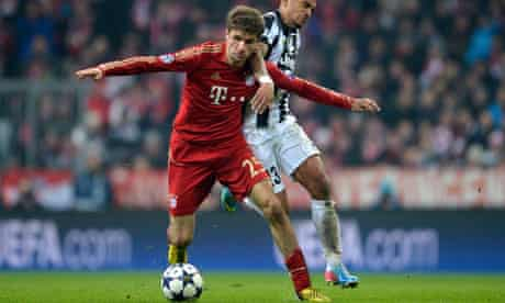 Thomas Müller on the ball, Bayern Munich v Juventus