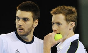 Jonny Marray and Colin Fleming talk tactics during their Davis Cup doubles win against Russia