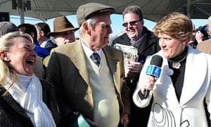 Clare Balding interviews Auroras Encore's trainer after the Grand National