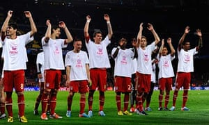 Bayern Munich's players celebrate their passage into the Champions League final