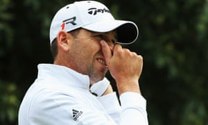 Sergio Garcia looks on during the Pro-Am round prior to the BMW PGA Championship