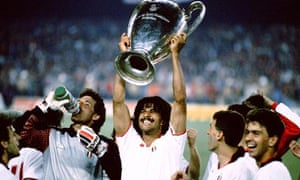 Ruud Gullit of AC Milan celebrates with the European Cup after win against Steaua Bucharest in 1989.