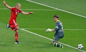 Bayern Munich's Arjen Robben shoots to score