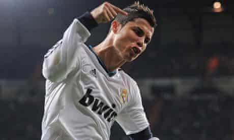 Cristiano Ronaldo celebrates scoring Real Madrid's second goal in the 6-2 win over Málaga