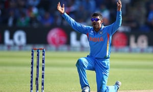 Ravindra Jadeja appeals during India's Champions Trophy victory over South Africa in Cardiff