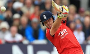 Ian Bell of England drives the ball to the boundary