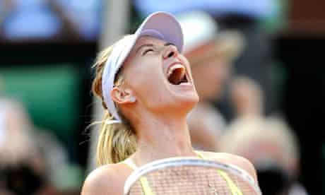 Maria Sharapova celebrates her French Open semi-final win against Victoria Azarenka