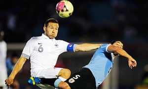 Yohan Cabaye keeps his eye on the ball during France's match against Uruguay earlier this week.