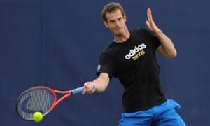 Andy Murray practices at Queen's Club