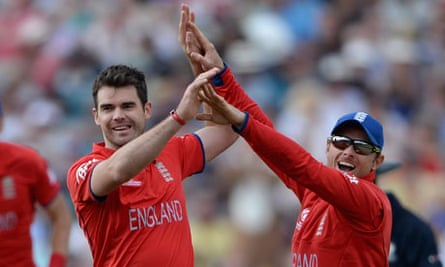 James Anderson of England celebrates with Ian Bell after dismissing Mitchell Marsh