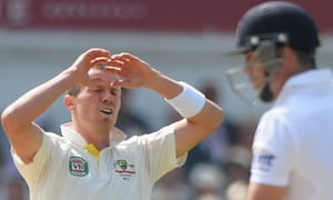 Peter Siddle is frustrated after seeing a shot from Kevin Pietersen