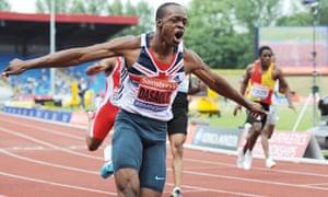 James Dasaolu after winning in 9.91 sec