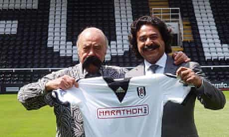 Mohamed Al Fayed with new Fulham owner Shahid Khan at Craven Cottage