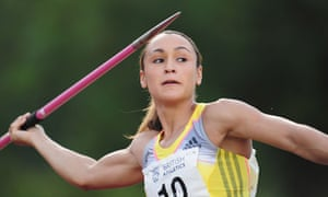 Jessica Ennis-Hill in javelin action at the European Athletics Permit meeting in Loughborough