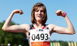 Sophie Hahn celebrates winning the women's 100m T38 final at the IPC Athletics World Championships