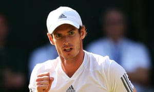 Andy Murray celebrates winning a point during the Wimbledon men's singles final