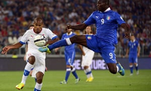 Italy's forward Mario Balotelli shows his athleticism against the Czech Republic.