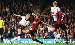 Fulham's Steve Sidwell scores against West Bromwich Albion in the Premier League at Craven Cottage.