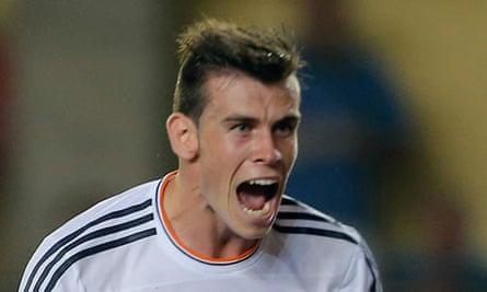 Gareth Bale of Real Madrid celebrates scoring against Villarreal