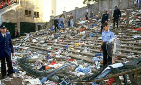 The aftermath of crowd rioting at Heysel in 1985 which left 39 Italian and Belgium fans dead