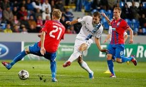 Edin Dzeko slots home Manchester City's opener in the win against Viktoria Plzen.