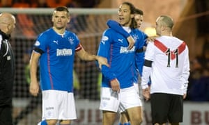 Bilel Mohsni, centre, is held back after being sent-off for Rangers after their 1-0 win at Airdrie