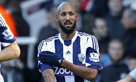 Nicolas Anelka makes the gesture that has mired West Bromwich Albion in controversy.