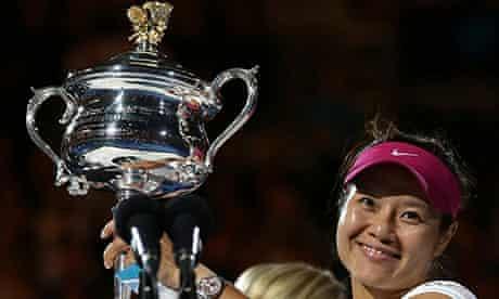 Li Na holds the Australian Open trophy after defeating Dominika Cibulkova