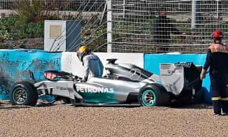 Formula One pALewis Hamilton crashes Mercedes