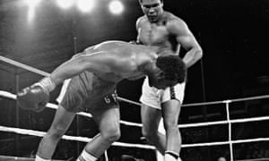 Muhammad Ali v George Foreman in their famous1974 fight which saw Ali regain the title