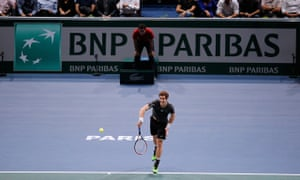 Andy Murray in action during his victory over Grigor Dimitrov at the Paris Masters