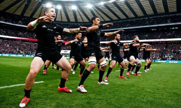 The All Blacks perform the haka before their test match against England at Twickenham.