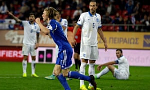 Joan Edmundsson celebrates after scoring the Faroe Islands' winner at Greece