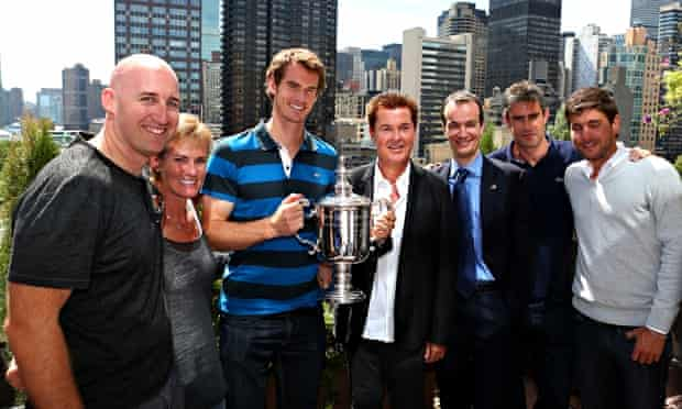 Jez Green, far left, and Daniel Vallverdu, far right, with Andy Murray