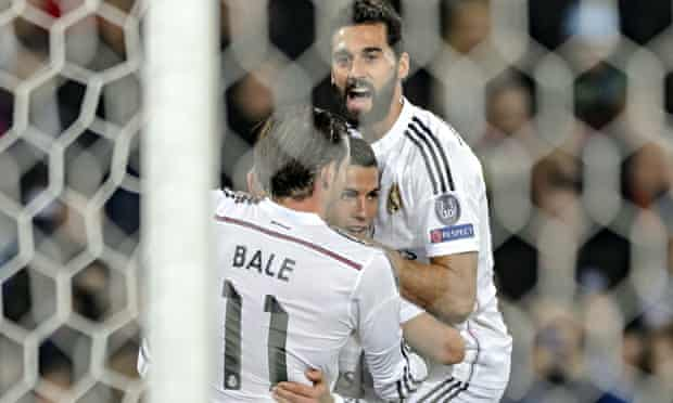 Cristiano Ronaldo celebrates scoring for Real Madrid