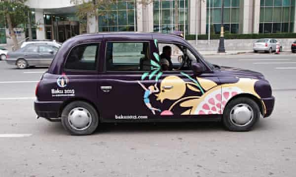 The Baku 2015 branded London-style taxis.
