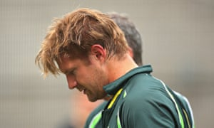 Shane Watson walks from the nets after being hit on the helmet