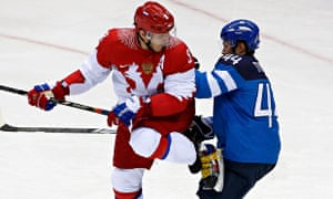 Russia's Alexander Ovechkin and Finland's Kimmo Timonen