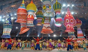Artists perform during the opening ceremony of the Sochi Winter Olympics in the Fisht Stadium