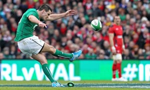 Ireland fly-half Jonny Sexton kicks a pe