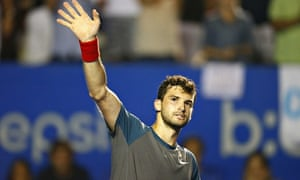 Grigor Drimitrov celebrates after beating Andy Murray