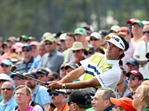 Bubba Watson plays from the gallery