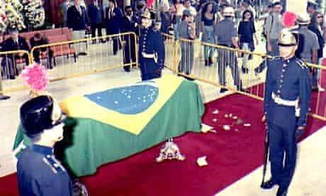 Ayrton Senna's casket at a hugely emotional funeral for the Brazilian in Sao Paulo on 4 May, 1994