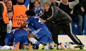 José Mourinho joins in the celebrations after Demba Ba scored the goal that took Chelsea through.