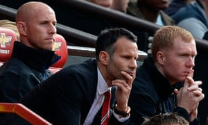 Ryan Giggs and coaches Butt and Scholes