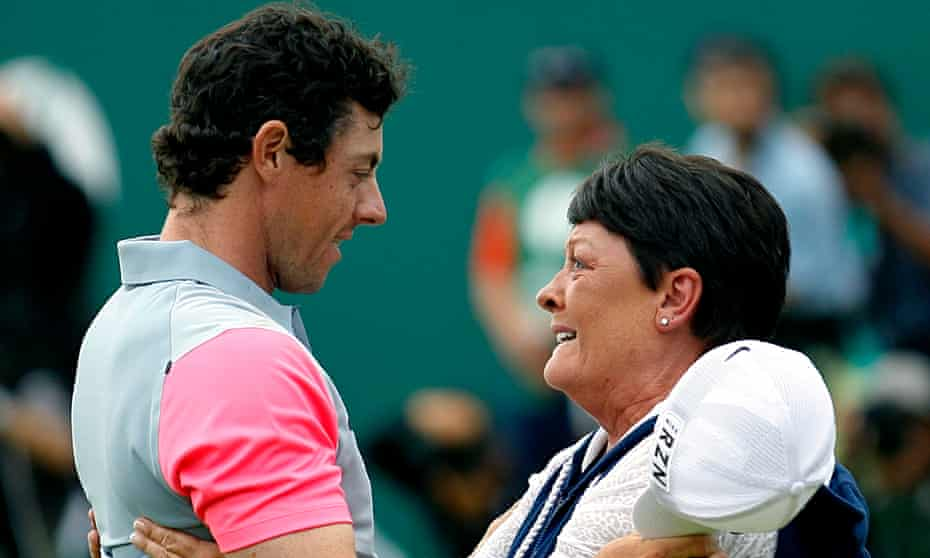 Rory McIlroy embraces his mother, Rosie, after winning The Open Championship at Hoylake.
